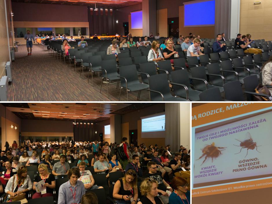 Dzień drugi. XL Stage. Zwróćcie uwagę na dodatkowe ekrany po bokach sali. Organizatorzy Infoshare dbają o takie szczegóły. Na tej scenie wystąpił Szymon Kudła z rewelacyjną prezentacją. Odpowiedz sobie na pytanie z tweeta poniżej.