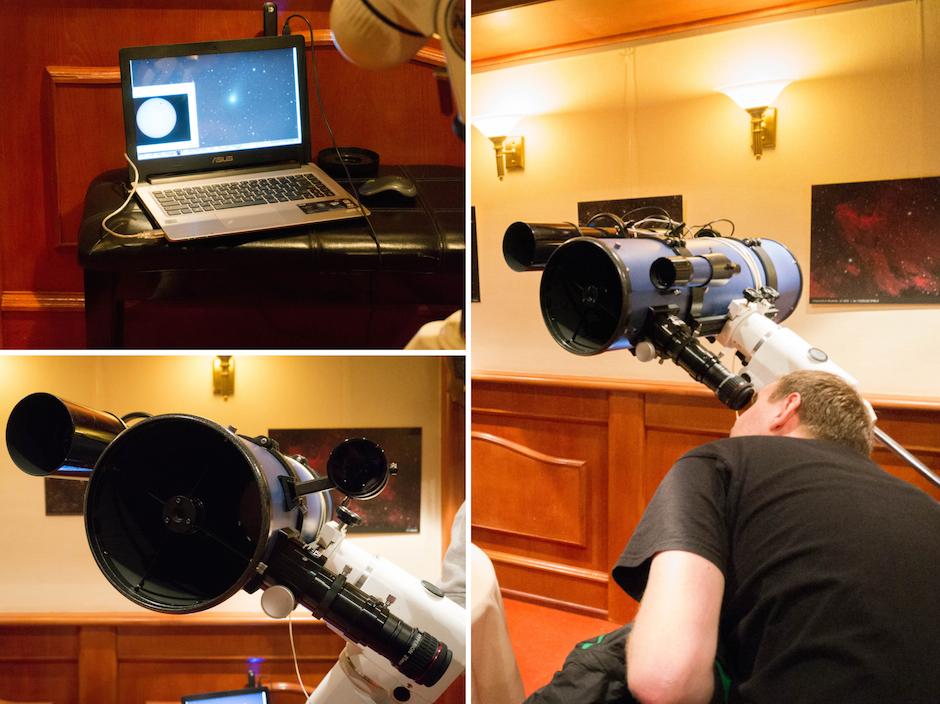 Przez teleskop można było podglądać również wynik meczu na telebimie na stadionie im. Floriana Krygiera - tu