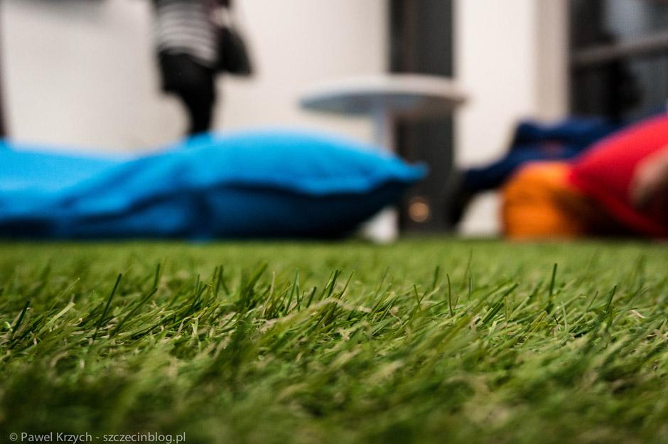 """Jedno pomieszczenie zamiast standardowej wykładziny, ma sztuczną trawę. Aż chce się położyć na """"podłodze"""" - oczywiście tak zrobiłem."""