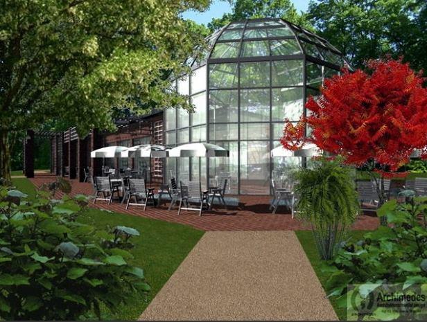 Wizualizacja obiektu gastronomicznego w Ogrodzie Różanym