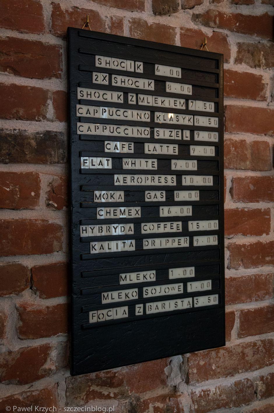 Oryginalne menu na ścianie