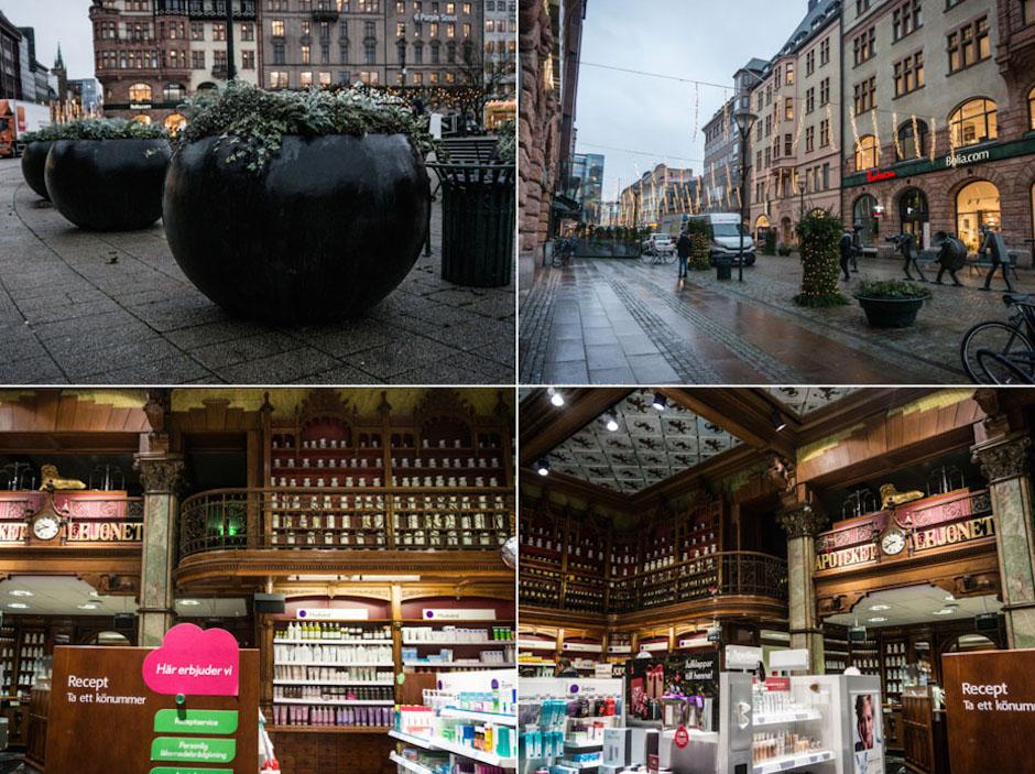 Dbałość o szczegóły rzuca się w oczy - tutaj po prawej apteka z XIX wnętrzem. Efekt połączenia nowoczesności z XIX wiecznym stylem jest bardzo ciekawy i niecodziennie się go spotyka.