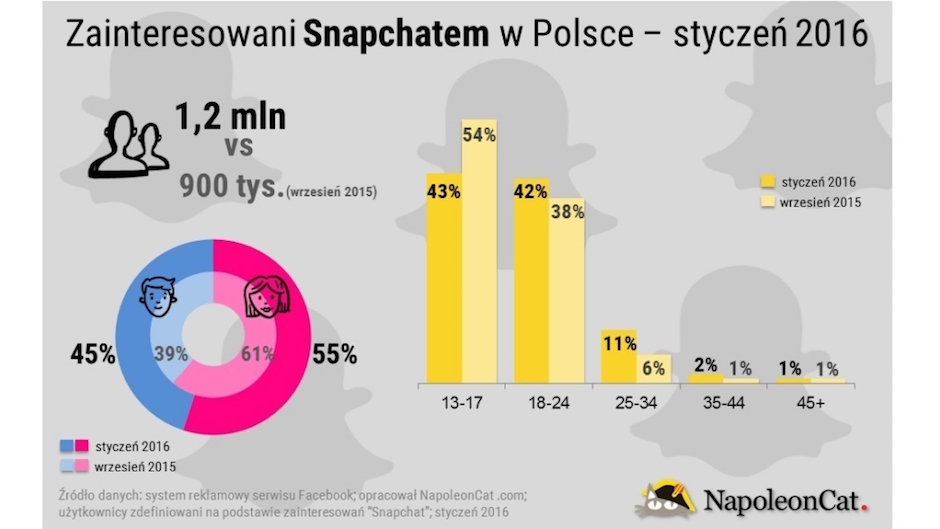 Snapchat w Polsce, stan na styczeń 2016. Raport przygotowany przez Napoleon Cat.