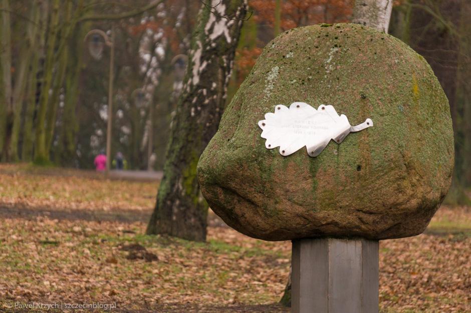Kamień z liściem na...